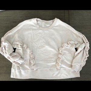 Mile(s) by Madewell ruffled beige sweatshirt sz XL
